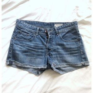 H&M distressed button fly-boyfriend shorts
